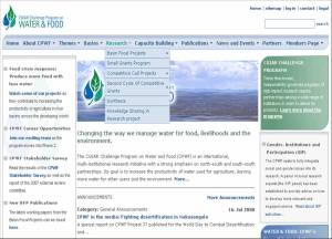 Link to \'Knowledge sharing project\' page from CPWF homepage
