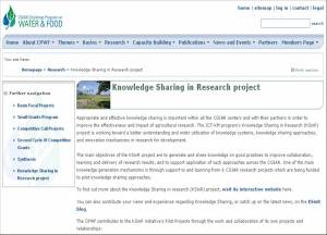\'Knowledge Sharing in Research\' page on CPWF website
