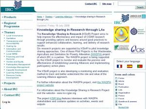 Knowledge Sharing in Research section on IRC\'s-Learning Alliance section webpage