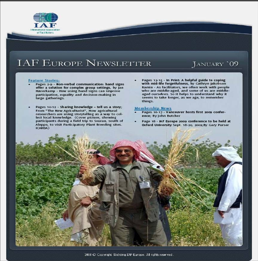 Front cover of IAF newsletter0featuring photo from Farmers' Conference
