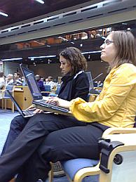 Chantal and Vanessa tweeting from the plenary on Day 1
