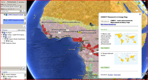 Google Earth Sample Overlay CGIAR Projects with Koppen Climate Classification
