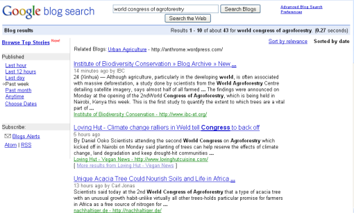 World Congress of Agroforestry on Google Blogs Search