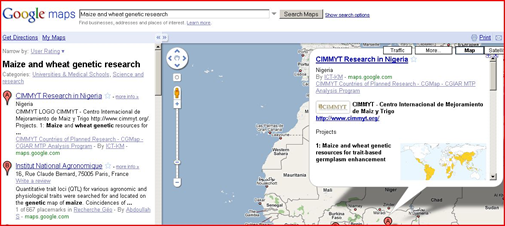 Google Map Search for CIMMYT Projects