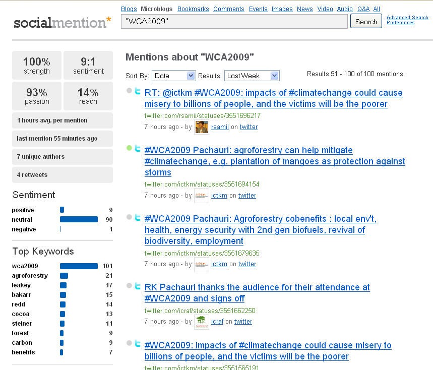 #WCA2009 hashtag search on microblogs via Socialmention.com