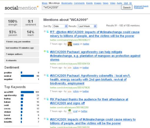 #WCA2009 hashtag search on microblogs via Socialmention.com