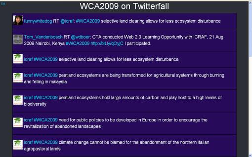 WCA2009 on Twitterfall